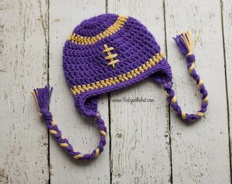 Children's Washington Huskies Purple and Gold Football Earflap Crochet Hat Photo Prop