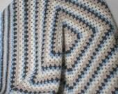 Crochet Baby Blanket Baby Afghan Granny Square Blanket Blue Cream Gray