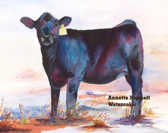 black angus cow calf purple ranch wall decor western painting Annette Bennett, canvas , cattle, watercolor, cattle, art, watercolor print