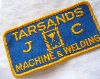Fabric Patch Tarsands J C Machine & Welding Embroidered Patch Fabric Badge Blue With Yellow Alberta Industry