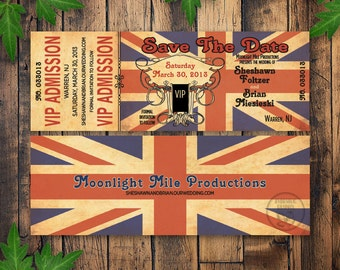 Printable Union Jack Ticket Wedding Save the Date, for The Rolling Stones, The Who or British theme, London, VIP ticket, steampunk elements