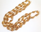 CHRISTMAS Holiday Sale, Golden Topaz Lucite Bead Necklace 1960s Vintage Jewelry, Gift for Her