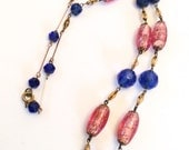 Art Deco Blue Pink Art Glass Bead Necklace Vintage Jewelry