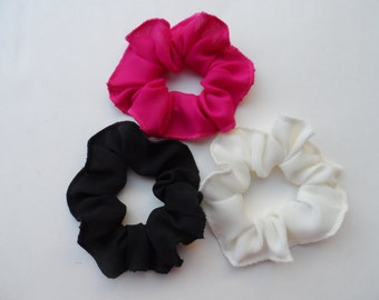 Scrunchies / Ponytail Holders/ Bun Holders, Set of 3, in 25 Colors