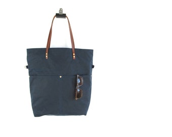 Waxed CANVAS Utility Tote Bag - Navy Blue - MAREE - Cross Body Purse Adjustable Leather Shoulder Strap Market Shopper Bag by Holm