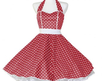 50's vintage dress full skirt red white polka dots sweetheart Tailor Made after your measurements #0014