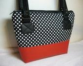 Purse Black white polka dot red faux leather zipper closure inside pocket faux leather straps medium cotton shoulder bag pleather