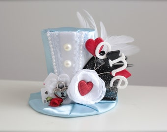 Alice in Onderland Inspired Mad Hatter Tea Party -  Mini Top Hat Headband - Perfect First Birthday Photo Prop