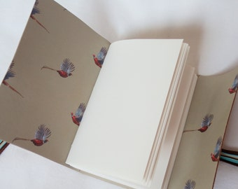 Pheasant Leather Journal Hand Bound Sketchbook Notebook A6