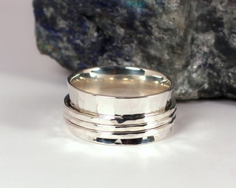 Wide Hammered Silver Spinner Style Ring, Sterling Silver, Made to Order