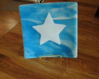 Fused Glass Dish Art Aqua with White Star - Item 8-1055