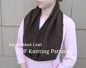 Easy Ribbed Cowl PDF Knitting Pattern, Large Wide Infinity Shoulder Warmer, Worsted Yarn