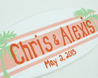 Personalized Beach Wedding Established Sign, 18 inch Surfboard Sign, Beach Theme Decor Personalized Couple Gift, Personalized Weddinng Gift