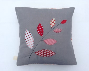 """Cushion cover, red leaves on a branch, free motion embroidery, linen, 16"""" / 40cm."""