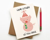 Happy Birthday 'ya Filthy Animal funny silly sarcastic pig birthday card for best friend boyfriend girlfriend husband wife doodle