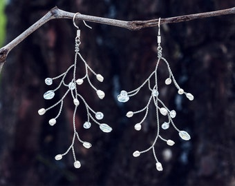 651_Silver wire earrings, Tree branch earrings, Wire wrapped jewelry handmade earrings silver, Pearl earrings dangle, Earrings handmade.