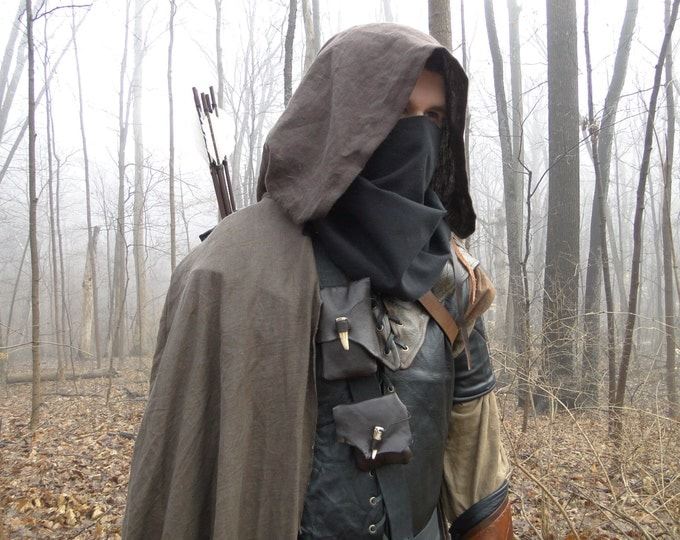 Linen Hooded Cloaks, Renaissance Medieval Cape, Ranger For Costume Cosplay - Choose Your Color