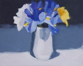 Spring Flowers Still Life Painting, Oil paint on  FLAT  canvas panel, 8x10 inch Canadian Fine Art