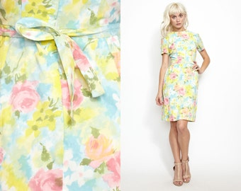 Vintage 60s PASTEL Floral Mini Dress // Mini Summer Print