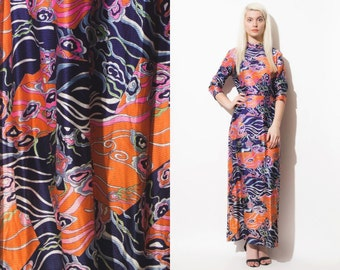 VIntage 60s 70s MAXI PRINT Psychedelic Dress // Turtle Neck // Long Sleeves // Boho Hippie