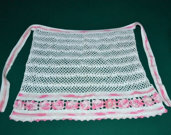 Vintage crocheted White and Pink apron, 1940 - 1950 ,antique,half apron, vintage apron,handmade apron, Flower apron,new vintage apron