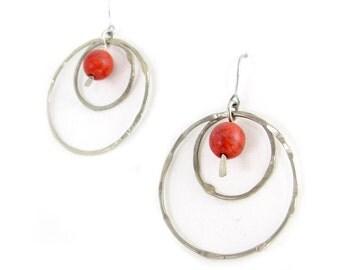 Silver Hoop Earrings with Red Bead - Bead Hoop Earrings - Simple Hoop Earrings - Colorful Hoops - Choose your Bead - Loop Earrings - Loops
