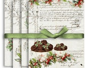 Digital Collage Sheet Download - A4 Christmas Cake Papers - 1148 - Digital Paper - Instant Download Printables