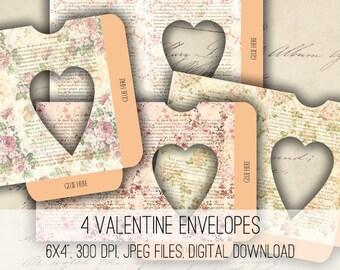 Digital Collage Sheet Download - Valentine Envelopes Printable - 1168 - Instant Download - Instant Download Printables