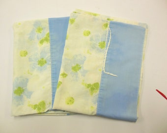 Two Vintage Pillowcases Blue Flowered Bedding Crafting