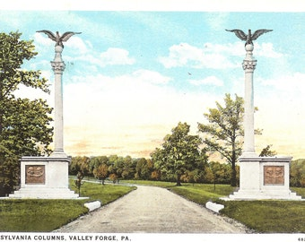 Vintage Postcard...Pennsylvania Columns, Valley Forge PA....Used..no.2008