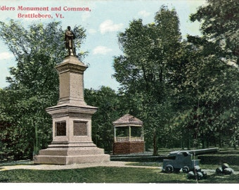 Vintage Postcard....Soldier's Monument and Common, Brattleboro, Vermont...Used, 1930s.....no. 2906