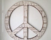 """Large 24"""" Rustic Wood Peace Sign Wall Decor"""