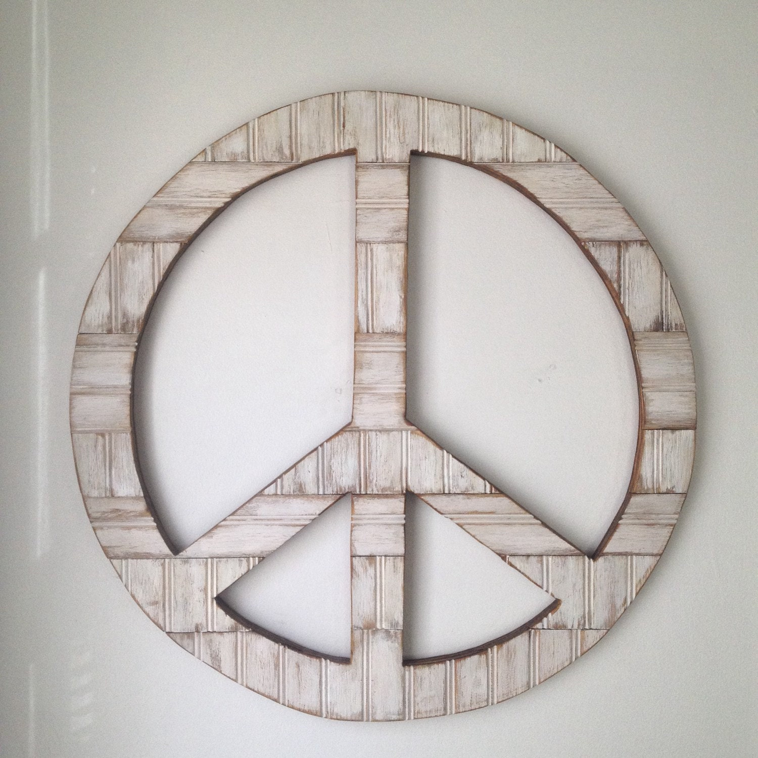 Large 24 Rustic Wood Peace Sign Wall Decor