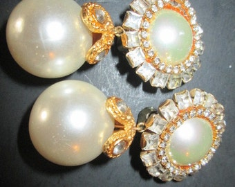 Vintage Pr Clip Drop Earrings faux Pearls and Rhinestones SALE SALE