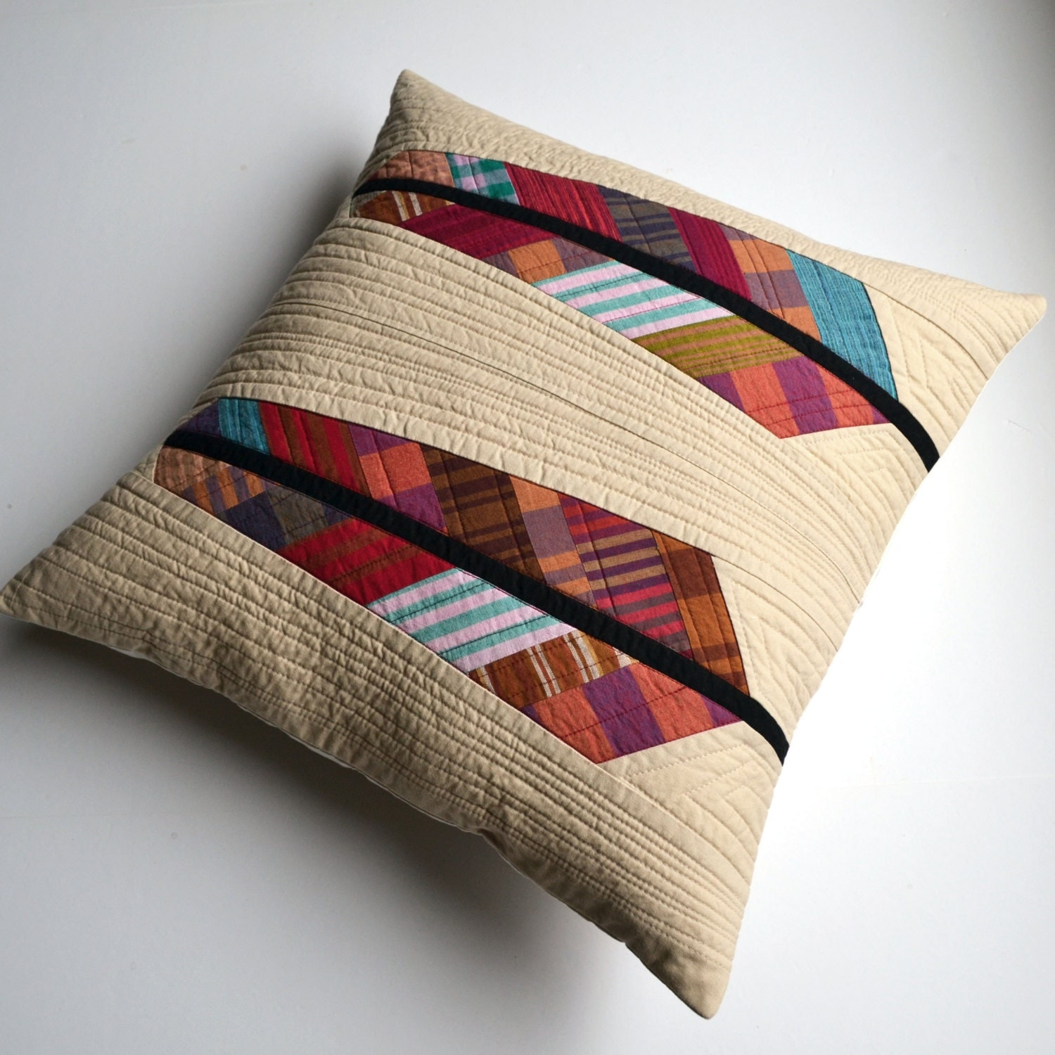 Modern Quilted Pillow Covers : Quilted Pillow Cover Modern Pillow Feather Pillow Accent