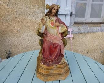 Vintage Chalkware Statue Jesus Christ Sacre Coeur Glass Eyes Hand Painted