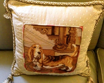 Needlepoint Pillow, designer, preppy, dog, Needle point, pillow, cottage chic , bassett hound, shabby chic pillow SALE