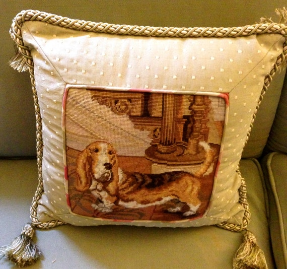 Items similar to Needlepoint Pillow, designer, preppy, dog, Needle point, pillow, cottage chic ...