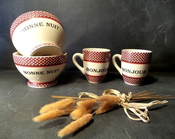 Bonjour and Bonne Nuit French Bowl and Mug Set .French Good Night Bowl .French Good Morning Mug.tea set coffee set