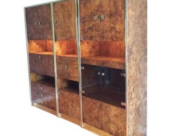 Burled wood and brass wall unit by Milo Baughman