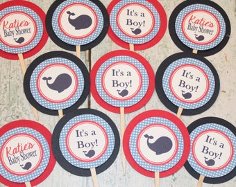 GINGHAM WHALE Theme Birthday or Baby Shower Party Cupcake Toppers Picks set of 12 {One Dozen} Blue Red - Party Packs Available