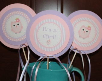 LOOK WHOOO'S .... OWL Theme Happy Birthday or Baby Shower Party Banner Pink Lavender - Party Packs Available