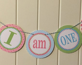 PREPPY WHALE GIRL Highchair {I Am One} Banner 1st Birthday Party Pink Green Blue - Party Packs Available