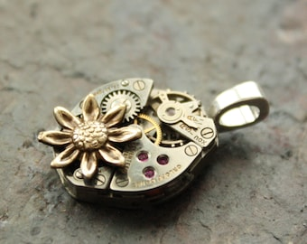 Steampunk Watch Pendant, Recycled Watch Movement Two Tone Sunflower Steampunk Necklace Sterling Silver 18""
