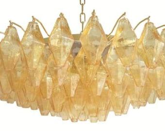 Italian mid century design amber murano polyhedral glass chandelier