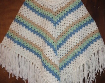 Crochet Poncho with fringe  One size fits most