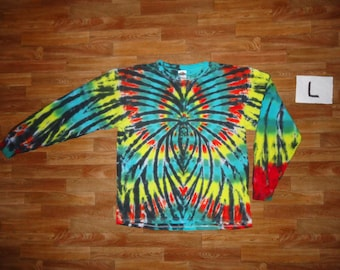 Tie Dye T-Shirt ~ Long Sleeve Rasta Spider Spiral 02794 Large