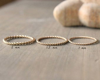 "Wedding Band Gold Ring Twined Stacking Ring Three Widths To Choose From--""Twined"""