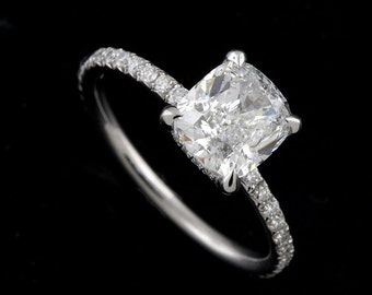 Diamond Cushion Engagement Ring, French Cut Micro Pave Set Diamond Proposal Ring, Gold Thin Shank Engagement Ring, Contemporary Ring Setting