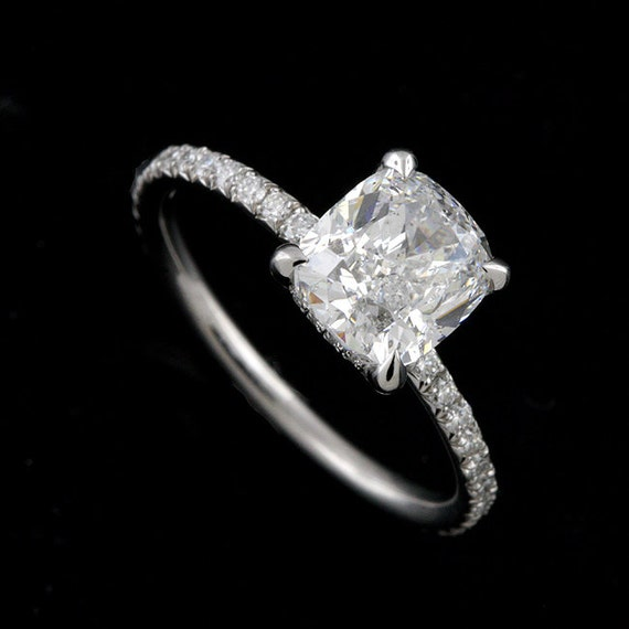 Diamonds Delicate Thin Engagement Ring French Cut Micro Pave